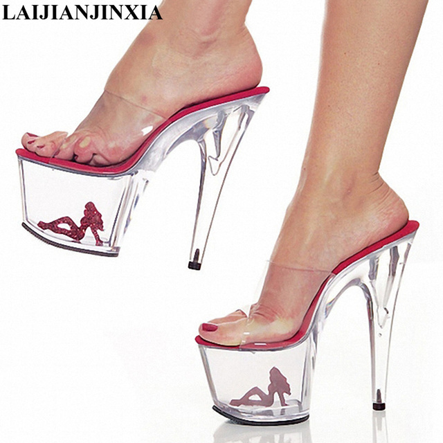 LAIJIANJINXIA Clear Crystal 17cm Sexy High Heel Platforms Sandals 7 Inch  Model Shoes Sexy The Pretty Girl Pattern Wedding Shoes f46ad7a21f4a
