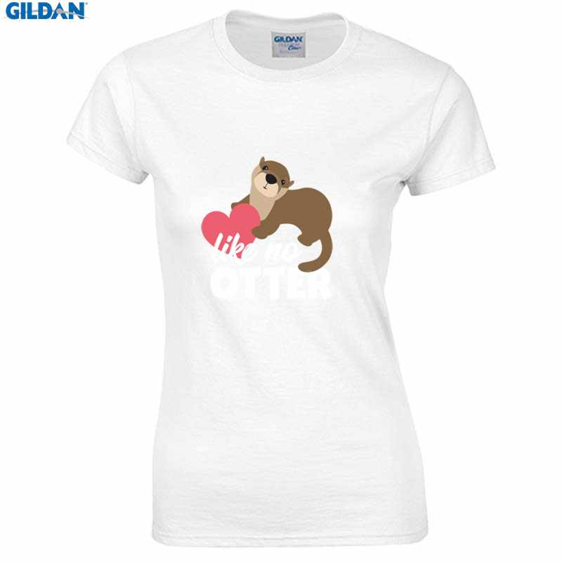 Printing t-shirt women cute otter animal heart love valentines day gift women t shirt cotton simple regular tshirt for women