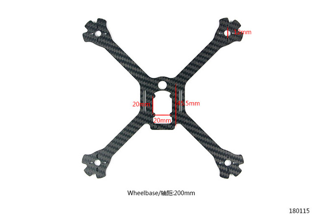 200mm Carbon Fiber Bottom Plate For LDARC Kingkong 200GT FPV Racing Drone RC Quadcopter Racer