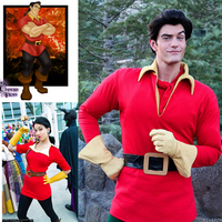 Beauty And The Beast Costume Gaston Top Gloves Belt Costume Cosplay Party Custom Made Halloween Costume