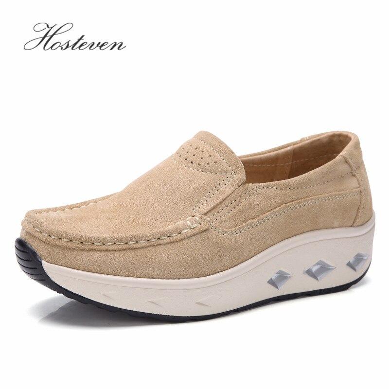 Hosteven Women's Shoes Sneakers Ballet Cow   Suede     Leather   Flat Platform Woman Shoes Slip On Female Women's Loafers Moccasins Shoe