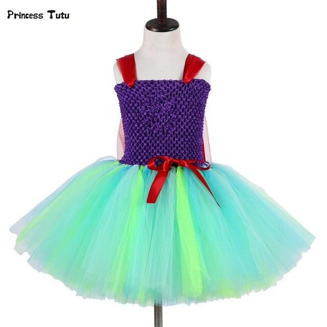 2d57cf2e13b2 Mermai Ariel Principessa Delle Ragazze del Vestito di Tulle del Vestito Dal  Tutu Delle Ragazze Dei Capretti Del Partito di Halloween ...