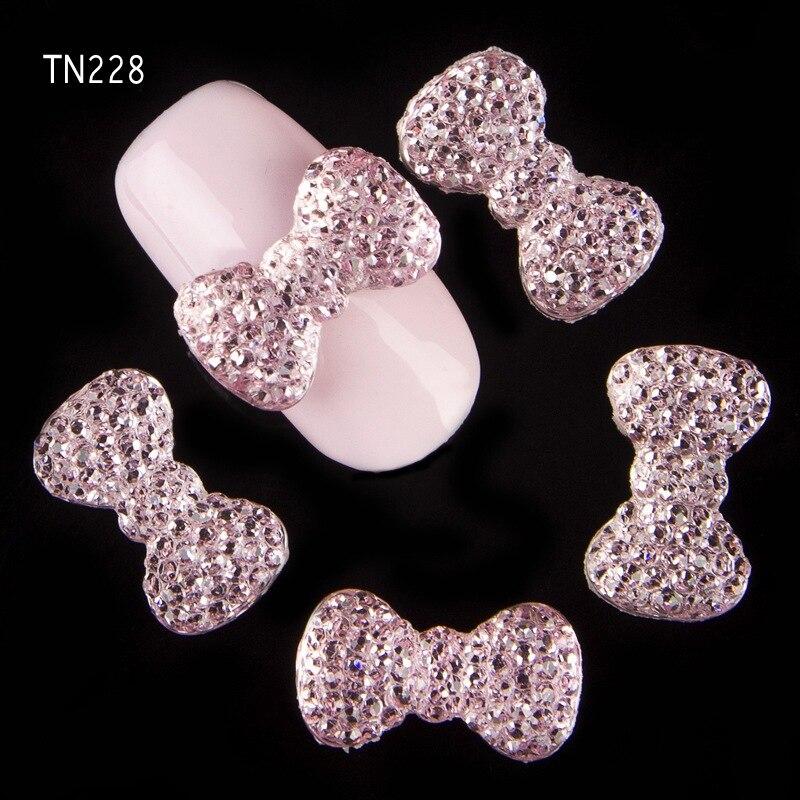 10 Pcs/Pack 6 Colors Glitter Bow 3D Alloy Nail Art DIY Beauty Studs Decorations Charms Rhinestones For Nails TN224-TN229 10 x metallic 3d alloy pink bow glitter rhinestones nail art diy tips decoration