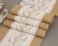 [RainLoong] Vintage Flax Table Cloth Flag Runner Lace For Wedding Event & Party Chirstmas Decoration 275*30cm