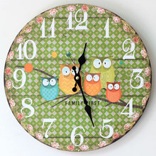 New Fashion ZAKKA Lovely Five Owl Round Wooden Wall Clocks Chic Small Broken Flower Wood Electric Clocks for Study Bedroom