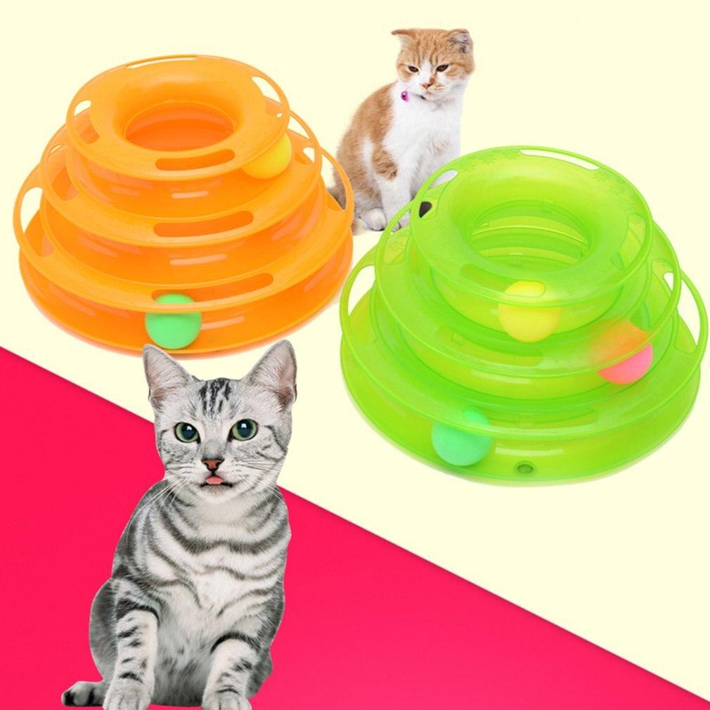 Three Levels Tower Tracks Disk Dog Cat Toys Intelligence Amusement Rides Shelf Training Amusement Plate Novelty & Gag Toys