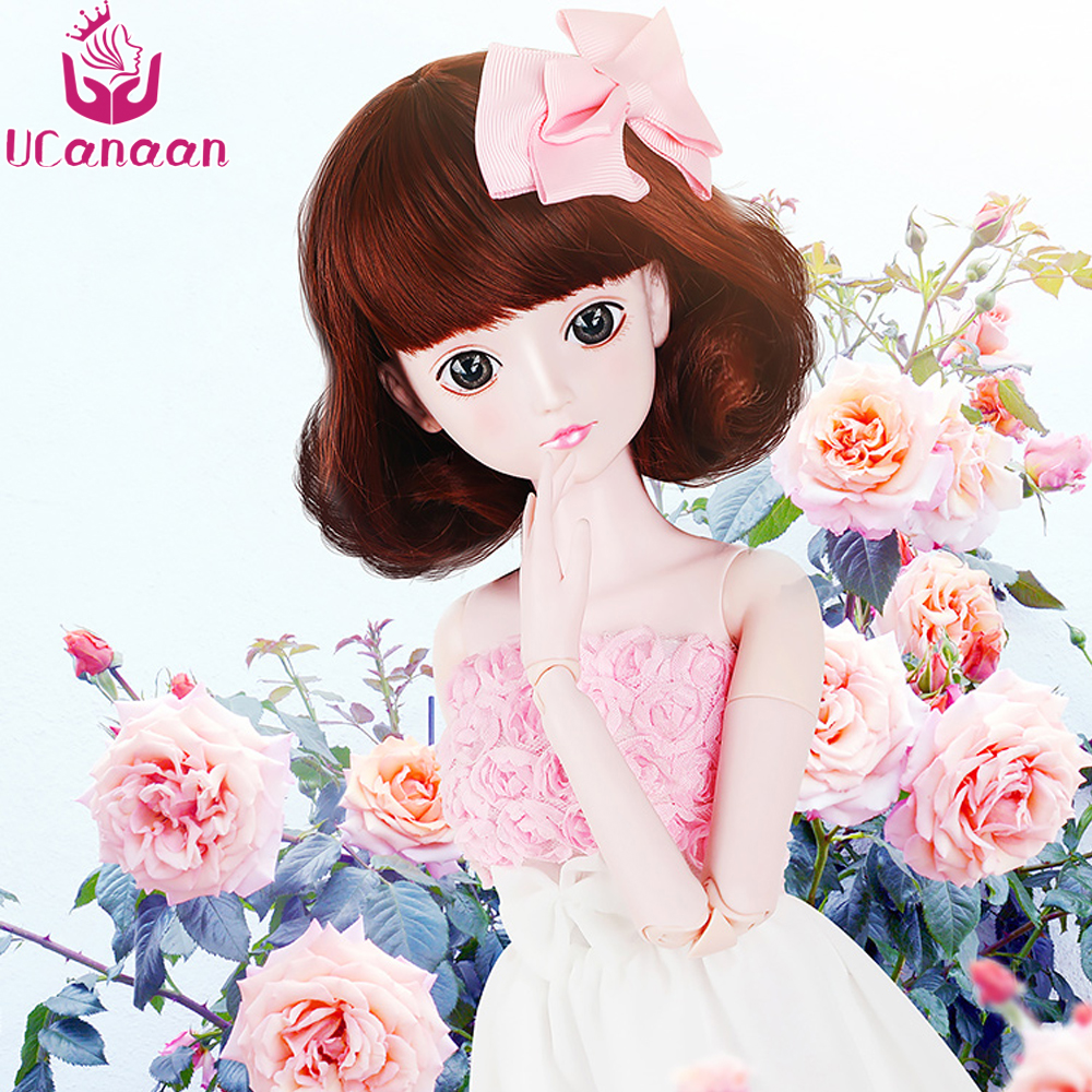 Ucanaan 1/3 Large BJD/SD Doll High Quality Joints Short Hair Fashion Personality Girl 19-Jointed Body Lolita Doll Offer Dress Up uncle 1 3 1 4 1 6 doll accessories for bjd sd bjd eyelashes for doll 1 pair tx 03