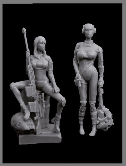 Assembly  Unpainted  Scale 1/35 Woman Hunters Cyborgs Set    Figure Historical  Resin Model Miniature Kit