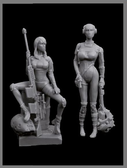 Assembly  Unpainted  Scale 1/35 Woman Hunters Cyborgs Set    Figure Historical  Resin Model Miniature Kit