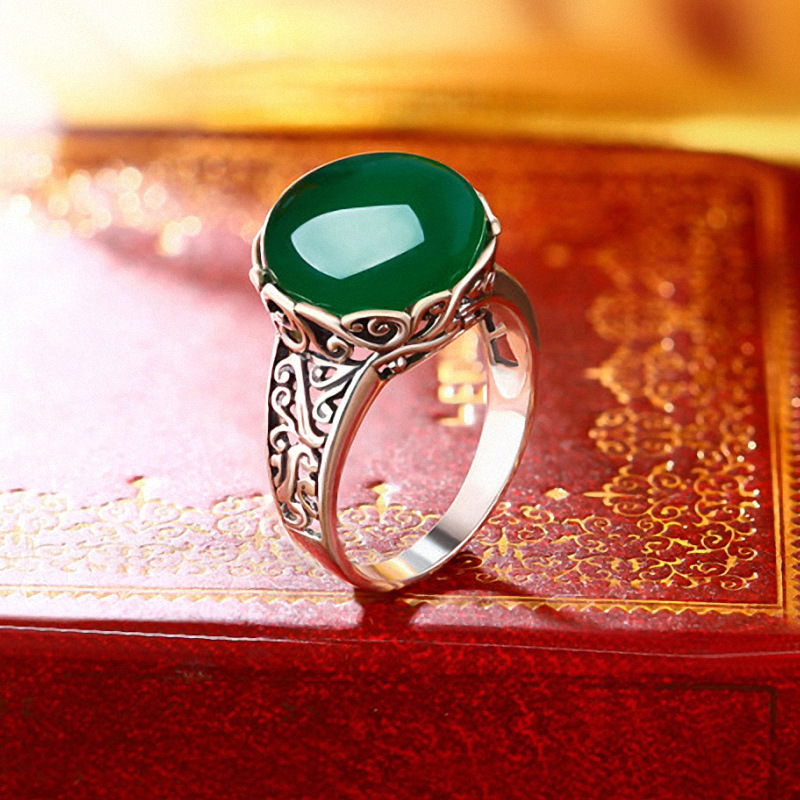 Authentic Sterling Silver 925 Rings Women Round Rings Natural Green Chalcedony Stone Resizable Fine Jewelry Anillo MujerAuthentic Sterling Silver 925 Rings Women Round Rings Natural Green Chalcedony Stone Resizable Fine Jewelry Anillo Mujer