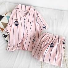 פיג מה סטים לנשים 2019 קיץ אופנה NightWear פנאי בית בד אישה קצר שרוול הכותנה pyjama ילדה הלבשת סט