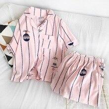 Pijama Setleri Kadınlar için 2019 Yaz Moda Kıyafeti Eğlence Ev Bez kadın kısa Kollu pamuk pijama Kız Pijama Seti