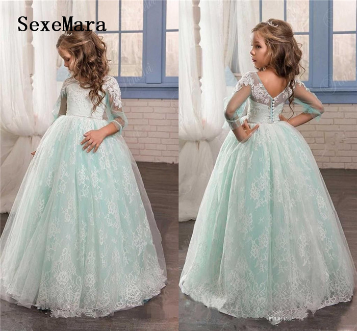 Mint Green Customized Flower Girl Dress For Weddings Tulle With Lace Open Back Ball Gown Girls Pageant Birthday Party Gown