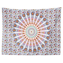 Boho Indian Mandala Tapestry Wall Fabric Hanging Hippie Psychedelic Elephant Printed Home Decor Mural Carpet Throw