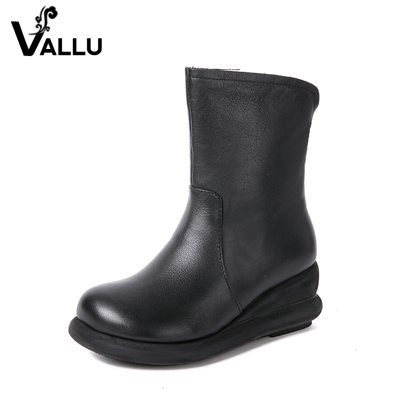 Natural Leather Women' s Shoes New Arrival Boots Ladies Vintage Comfortable Casual Women Wedge Shoes women s boots