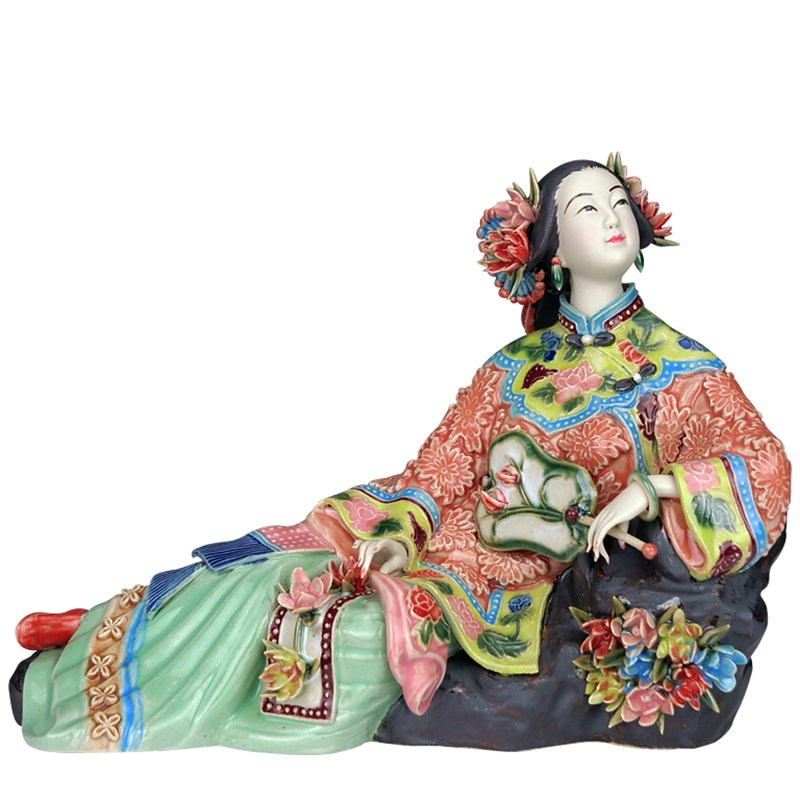 Classical Ladies Spring Craft Painted Art Figure Statue Ceramic Antique Chinese Porcelain Figurine Home Decorations L3389