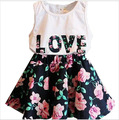 2016 Korean Girls Clothes Summer Baby Girls Dresses Set Floral Printed Tank+Dress 2 Pieces Kids Girls Clothes For 2-7Y c10