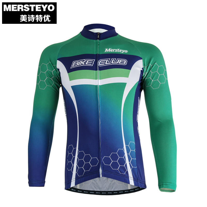a8be4d72b MERSTEYO Pro Men Bike jersey Long Sleeve Team Cycling clothing Green Blue  Male Riding Top MTB