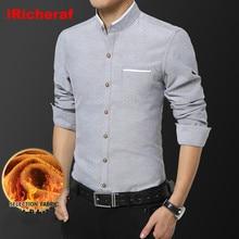 iRicheraf Thicken Warm Velvet Men Shirt Long Sleeve Stand Collar Winter Korean Shirt White Grey Plus Size 3xl 5xl Dropshipping grey fashion velvet cami