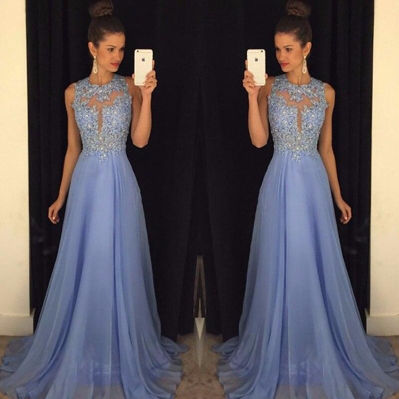 2019 une ligne bleu Bridemaid robes dentelle et mousseline de soie appliqué demoiselle d'honneur robes de bal robes de soirée expédition rapide