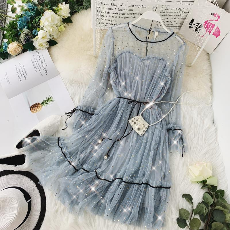 HISUMA spring autumn new women Star sequins gauze flare sleeve lace-up Princess dress female elegant o-neck mesh puff dresses 54