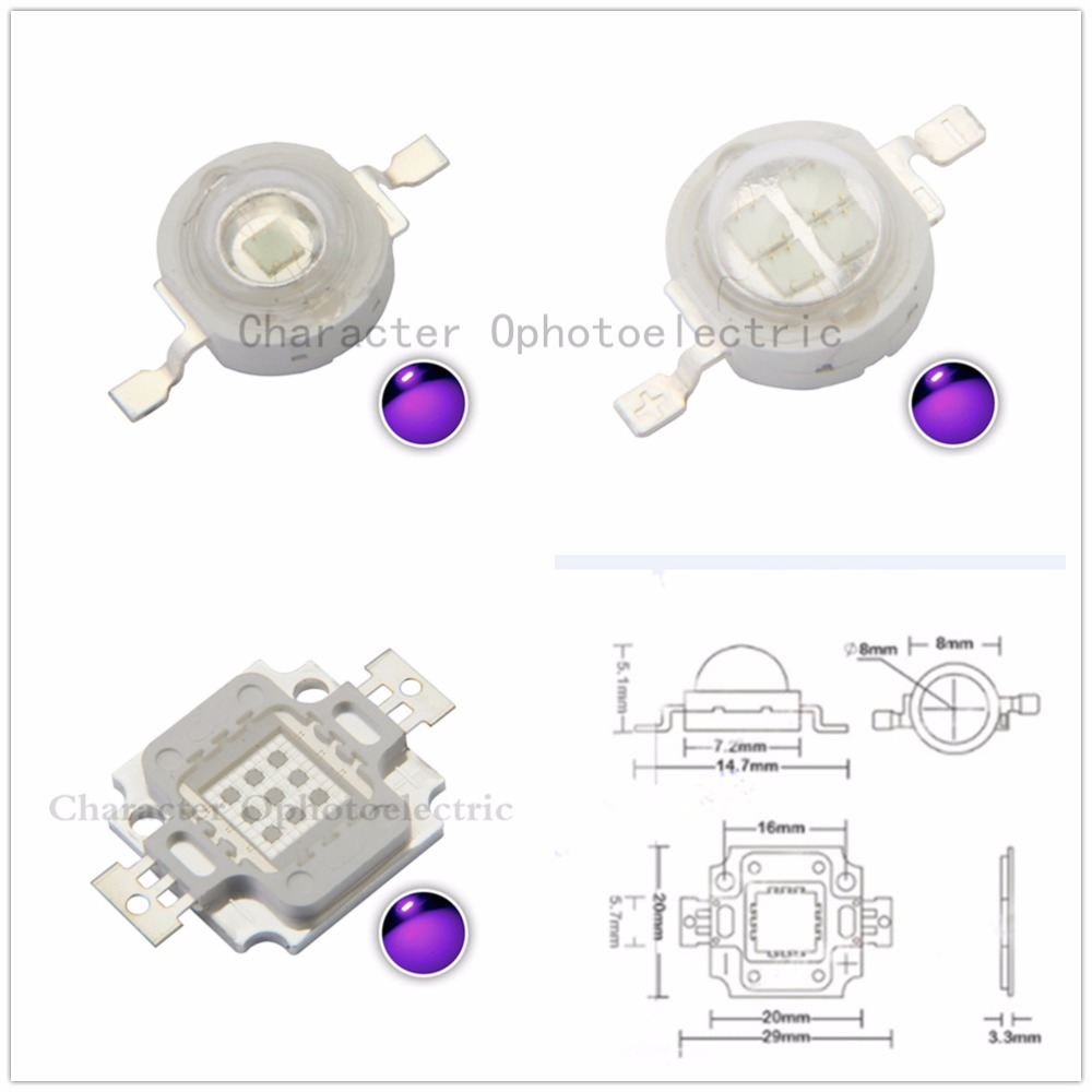 UV LED Ultraviolet Bulbs Lamp Chips 365nm 375nm 380nm 385nm 395nm 400nm 405nm 3W 5W 10W 20W 30W 50W 100W High Power Light in Light Beads from Lights Lighting