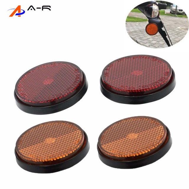 2pcs Round Orange Side Fork Leg Reflector Reflective Warning Plate Stickers Safety Sign Universal Motorcycle Atv Dirt Bike Red
