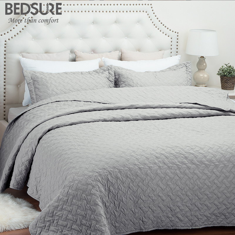 Bedsure Grey Basketweave Pattern Bedclothes Solid Quilted Bed Set ...