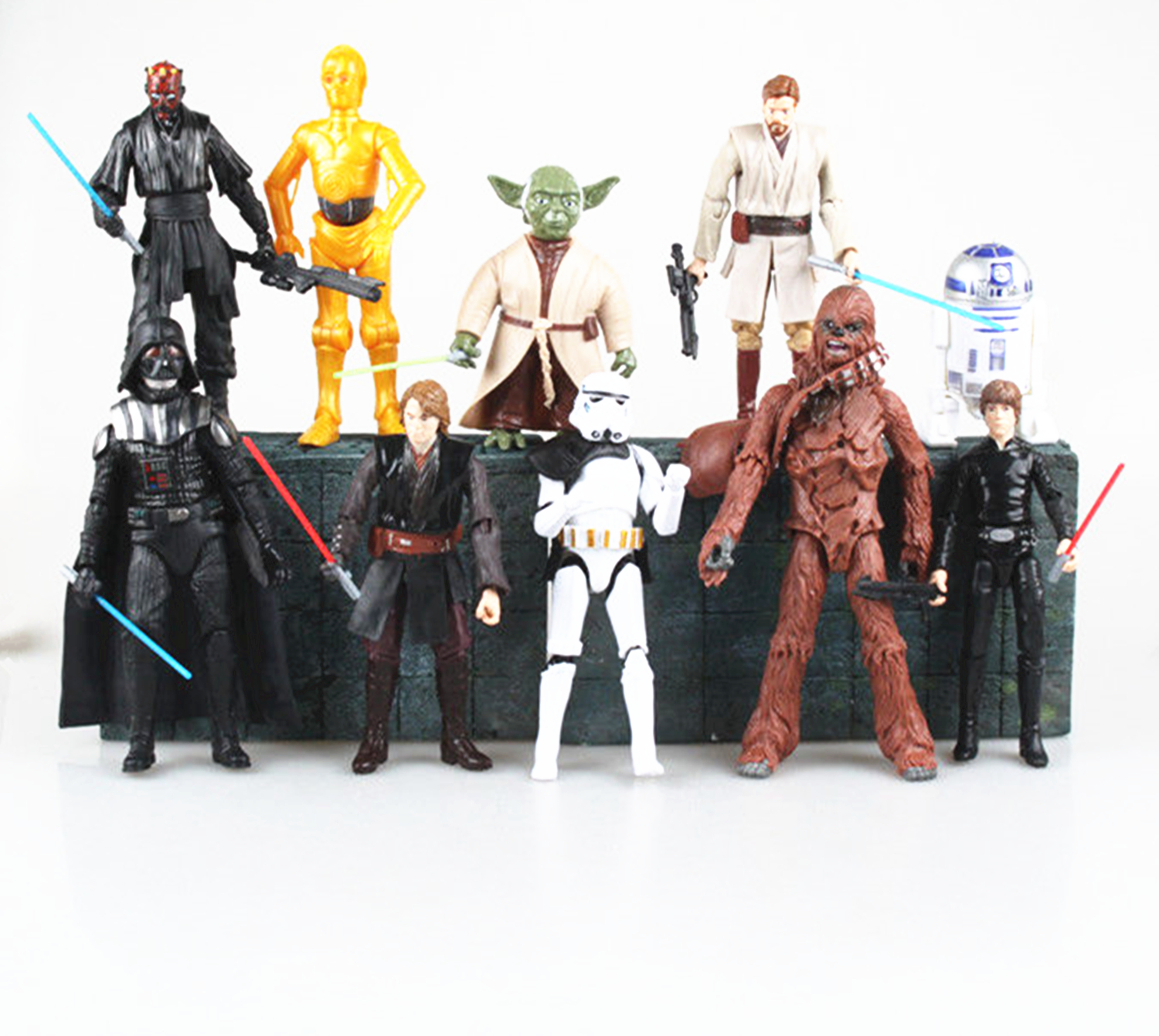 10PCS Action Figures Toys Kids Gifts Toy Pvc Collections For Star Wars Darth Maul Vader Yoda Skywalker Stormtrooper free shipping chocolate cake hello kitty action figures toys lovely anima kitty figurine doll plastic pvc toy gifts for kids