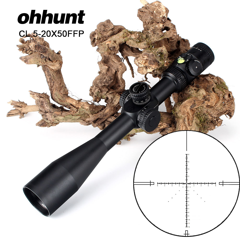 ohhunt CL 5-20X50 FFP Hunting Riflescope Optical Sights Red Green Illuminated Glass Etched Reticle Tactical Scope for Rifle
