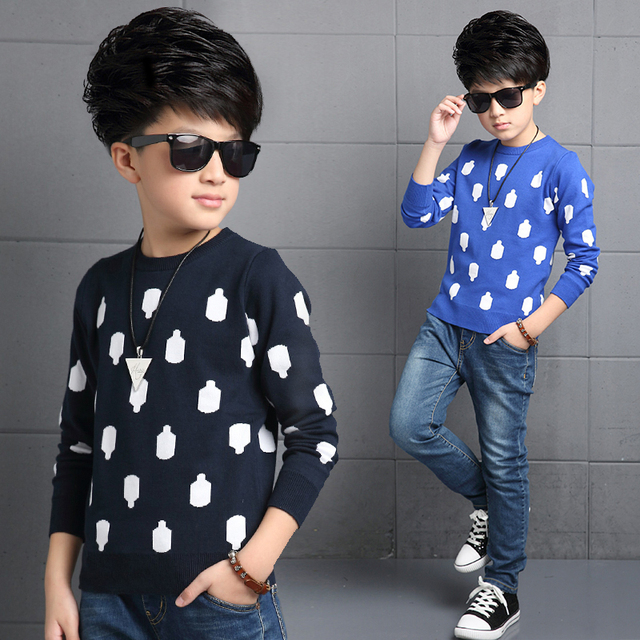 Boys Sweater 2016 Cool Star Print Kids Wool Sweaters Children's Pullover Sweater Boys Cardigan Autumn&winter Clothes Kids Coat