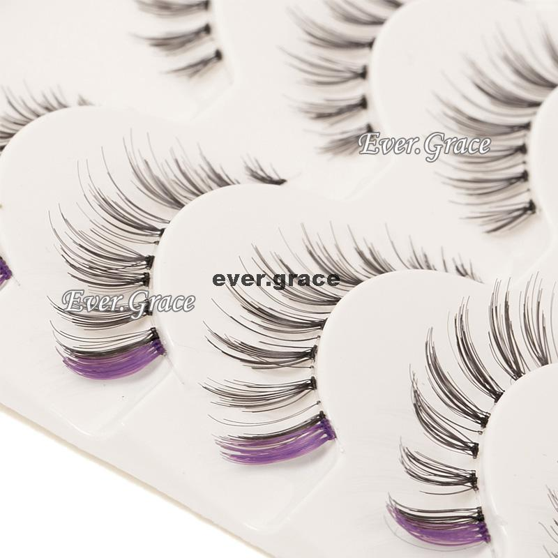 ICYCHEER 5 Pairs Purple & Black Makeup Fancy False Eyelashes Eye Lashes Extension Handmade ...