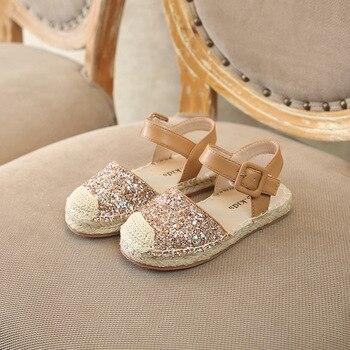 Flache Sandalen Anziehen | Sommer 2019 Neue Baby Mädchen Prinzessin Sandalen Kinder Glitter Wohnungen Kinder Pailletten Marke Schuhe Mode Espadrille Rosa Nette Sandalen