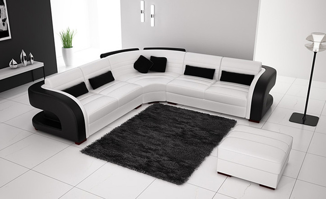 Free Shipping Clic Black And White Genuine Leather L Shaped Corner Sofas For Living Room Modern