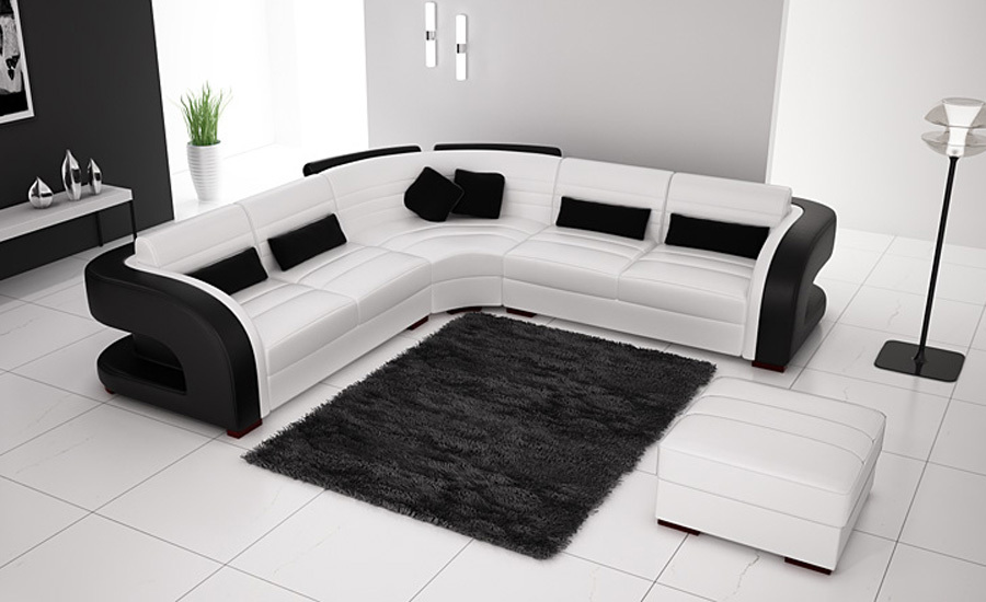 Free Shipping Classic Black And White Genuine Leather L Shaped Corner Sofas  For Living Room Modern.