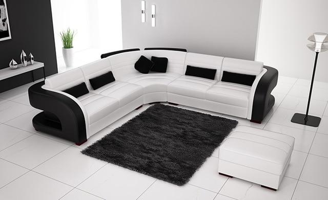 Divano Nero E Bianco : Trasporto libero classico bianco e nero genuine leather l a forma