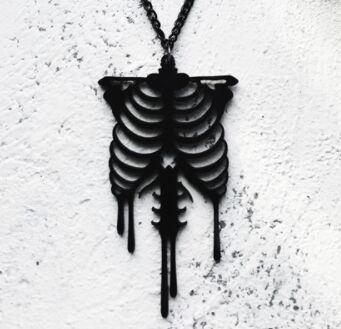 Regalrock Gothic Darkness Black Anatomy Skeleton Bleeding Anatomical Rib Cage Pendant Necklace