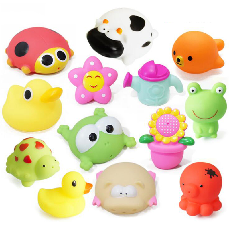 Squishy Rubber Toys : 1 PCS Bath Toys in the Bathroom Baby Toy for Children Water Spray Animal Soft Rubber Toys Duck ...