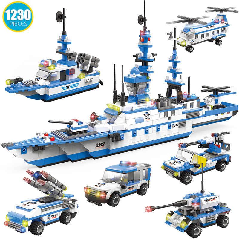 1230 pçs cidade carro navio 6in1 blocos de construção compatível legoinglys cidade polícia patrulha barco tijolos brinquedos para meninos crianças