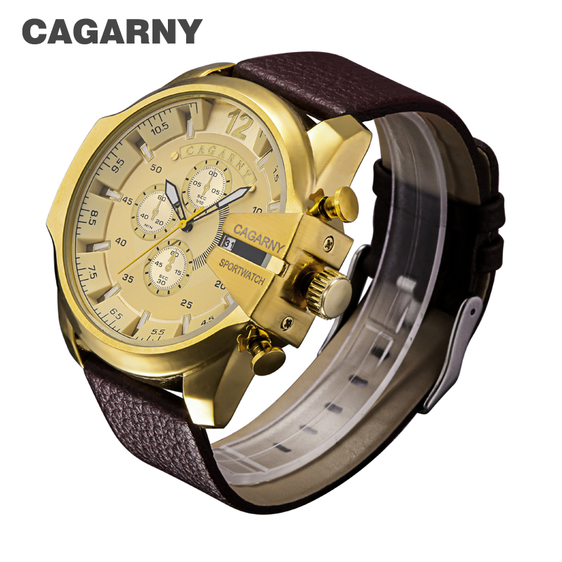Cagarny Military Watches Men's Quartz Watch Men Leather Watchband Sports Wristwatches Relogio Masculino Dourado Reloj Hombre New