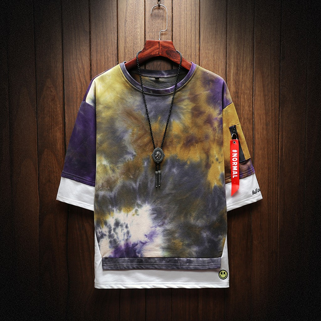 2019 New Hot Men Summer New Style Fashion Printed Tie-Dyed Fake Two Comfortable Top M-5XL Instyle Vetements de mode pour hommes 4