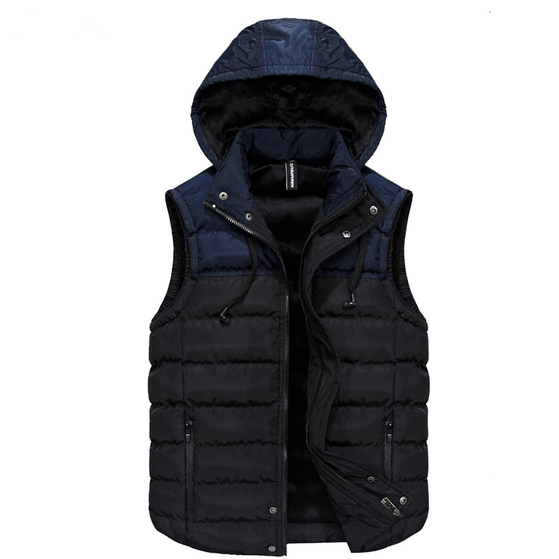 2018 Autumn Winter Sleeveless Jacket for Men Fashion Warm Hooded Male Winter Vest Light Plus Size Men Waistcoat Colete Masculino