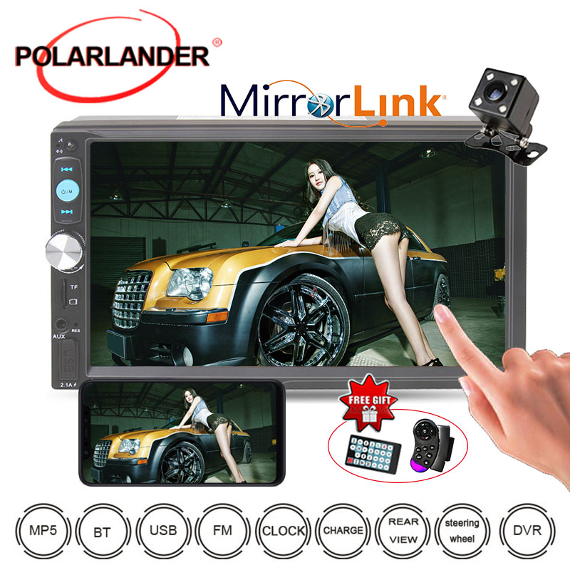Mutimedia Audio Stereo With Rear View Camera 2 Din Mirror Link 10 Languages 7'' Car Radio MP3/MP4/MP5 player Bluetooth <font><b>7023D</b></font> image