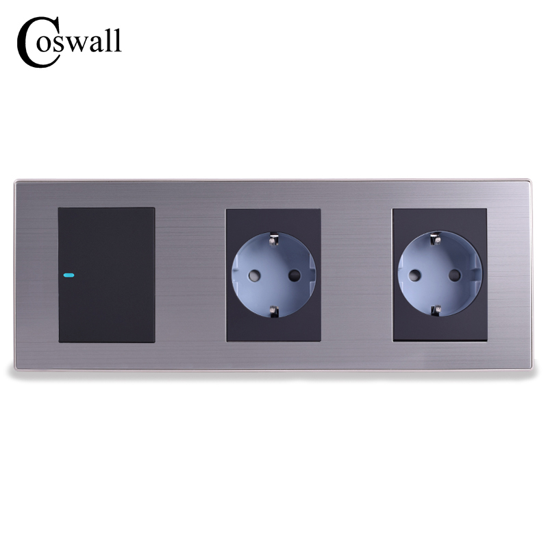 Coswall 16A EU Standard Wall Double Socket + 1 Gang 1 Way Light Switch With LED Indicator Stainless Steel Panel 236*86mmCoswall 16A EU Standard Wall Double Socket + 1 Gang 1 Way Light Switch With LED Indicator Stainless Steel Panel 236*86mm