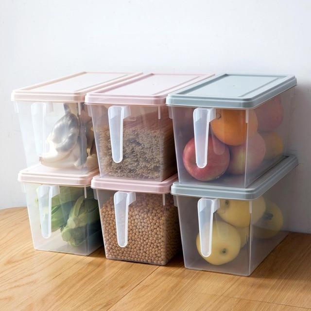 4PCS/Set Refrigerator Transparent Storage Box Large Plastic Frozen Box Kitchen Fruit Box Food Egg Crisper Container With Handle