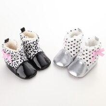 Super Warm Winter Baby Boots Butterfly-knot Heart Love Princess Newborn Girls Booties Soft Bottom Leopard Winter Booties Boots