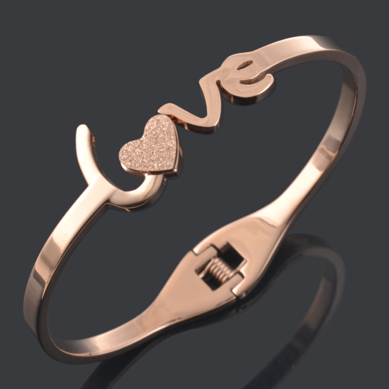 2015 new fashion female rose gold Color bracelets bangles cuff stainless steel Love carter bracelets fancy jewelry for women