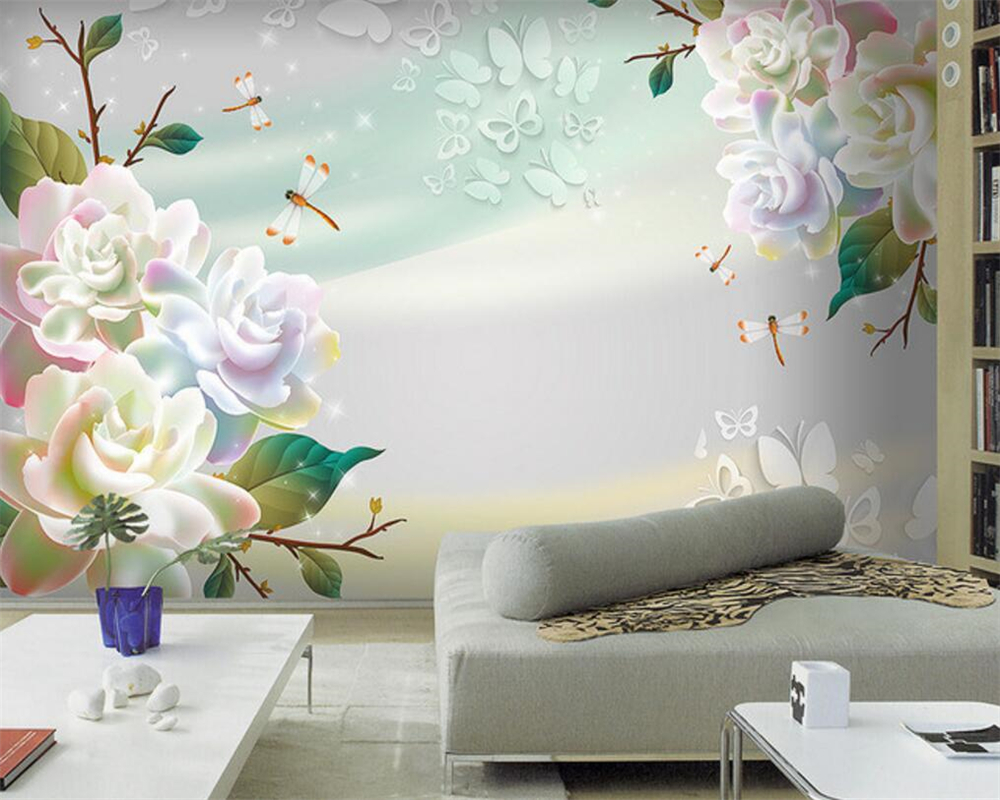 Beibehang Fashion Dreams Rose Photo Wallpaper 3D Living Room TV ...