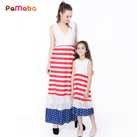 PaMaBa American Flag Design Maxi Dress For Mom And Daughter Independence Day Festival Clothing Fashion Family