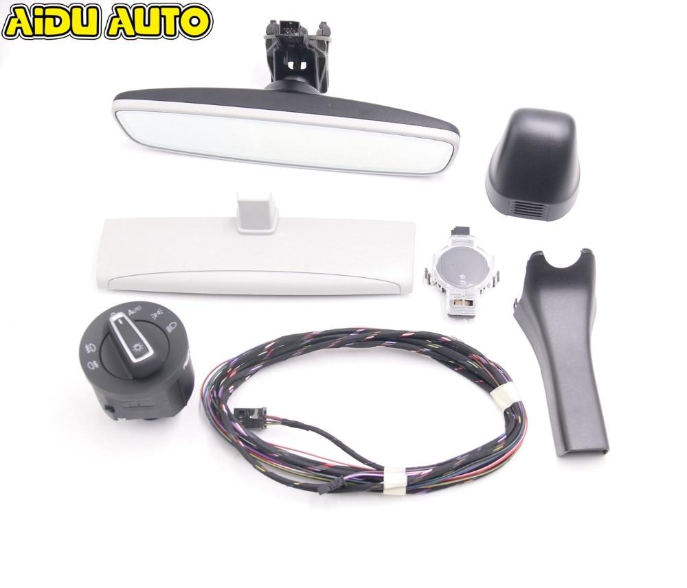 Auto headlight switch Rain Light Wiper Sensor Anti glare Dimming Rear View Mirror For VW Golf